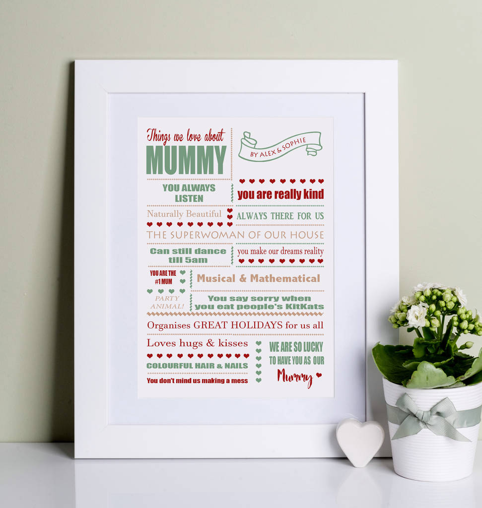 Things We Love About Mum Print