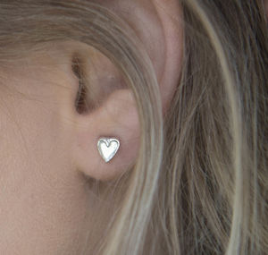 Sterling Silver Tiny Double Heart Studs