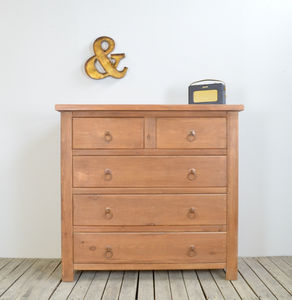 Chunky Wood Two Over Three Chest Of Drawers - bedroom