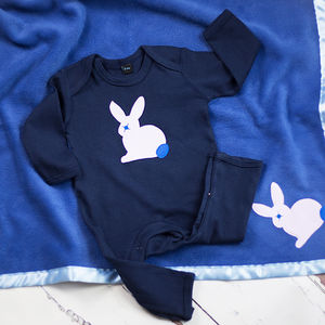 Bunny Rabbit Sleepsuit And Blanket Gift Set For Boys