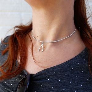 Silver Lucky Wishbone Choker Necklace - necklaces & pendants