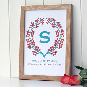 Personalised Berry Garland Print - family & home