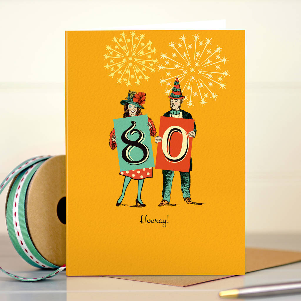 Funny 80th Birthday Card 80 Hooray