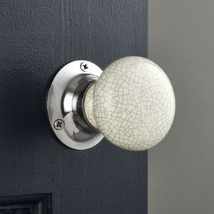 White Crackled Internal Turning Mortice Door Knobs