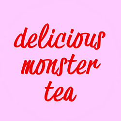 delicious monster tea logo red on pink