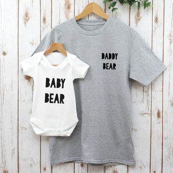 Daddy Bear Baby And Dad T Shirt Set