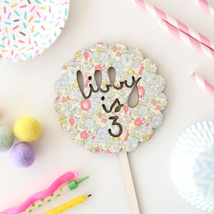 Liberty Print Birthday Personalised Cake Topper