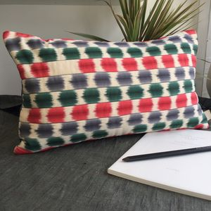 Colourful Vintage Silk Print Cushion Cover