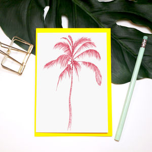 'Tropicana' Neon Palm Tree Greeting Card