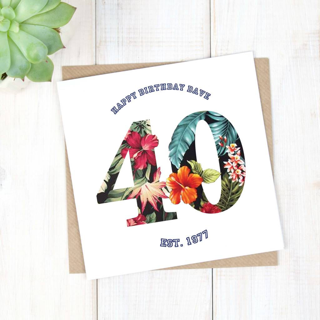 Personalised Hawaiian Mens 40th Birthday Card