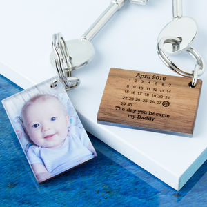 Personalised Photo Wood And Acrylic Calendar Keyring - gifts for fathers