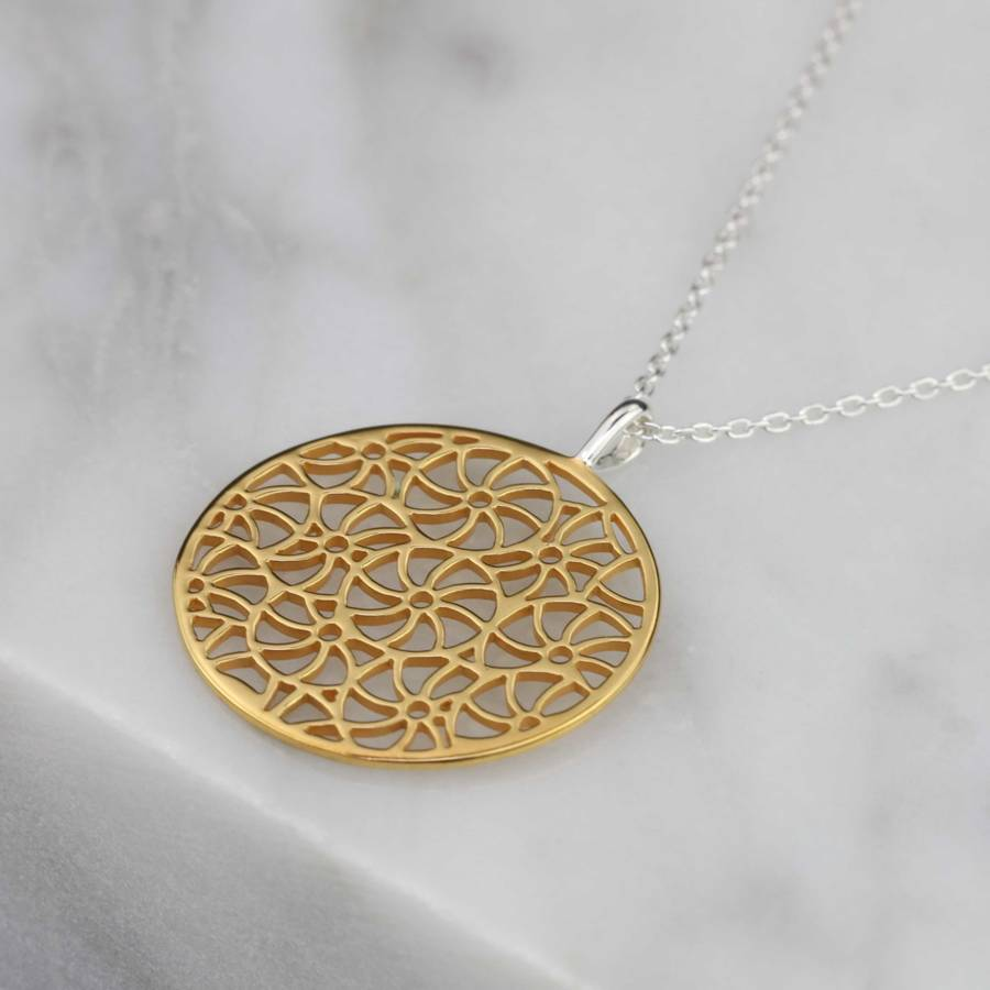 Silver gold or rose gold filigree pendant by nest silver gold or rose gold filigree pendant mozeypictures Images