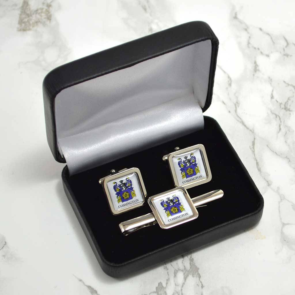 Family Crest Cufflinks And Tie Clip Set