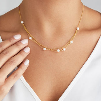Rose, Silver Or Gold Layered Pearl Necklace