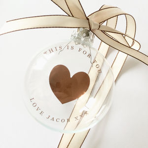 Copper Or Gold Foil Heart Bauble