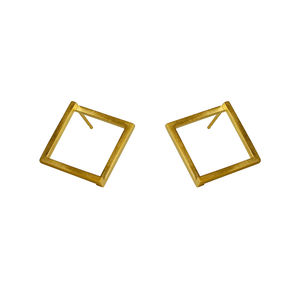 Large Geom Stud Earrings Gold - earrings