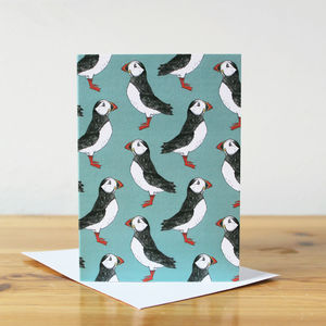Green Puffin Blank Notelet