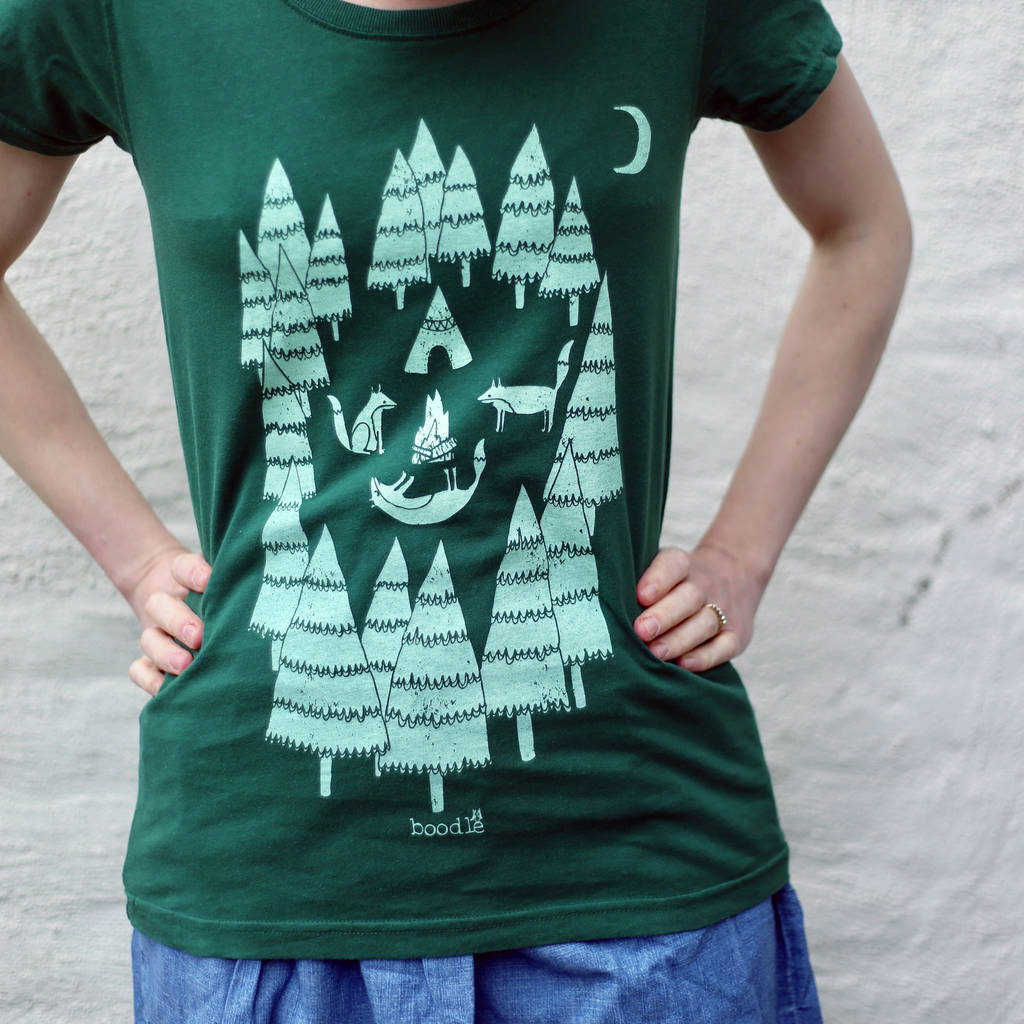 59d3306a organic womens 'foxes in the forest' t shirt by boodle ...