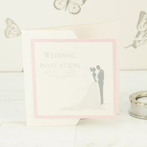 Bride And Groom Pocketfold Wedding Invitation