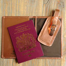 Metallic Leather Passport Cover And Luggage Label