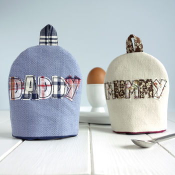 personalised mummy and daddy egg cosies