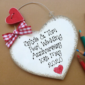 Personalised Pearl Wedding Anniversary Sign