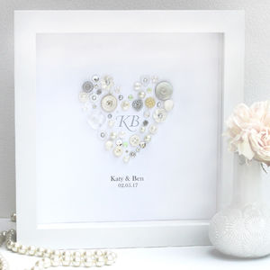 Personalised Romantic Initials Pearl Heart Art - mixed media & collage