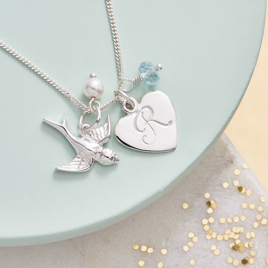 Silver Birthstone Necklace With Swallow