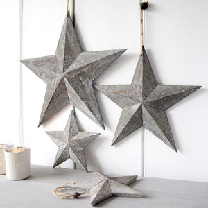 Grey Wooden Hanging Star - tree decorations
