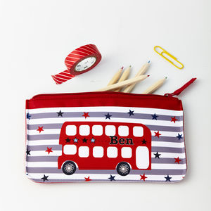 Boys Personalised Bus Pencil Case - stationery