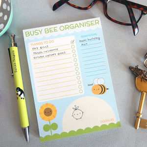 Busy Bee Organiser Notepad - notepads & to do lists