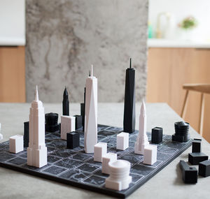 New York City Architectural Chess Set With Map Board - gifts for him