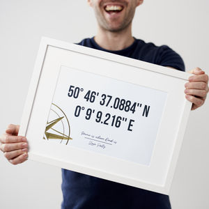 Personalised Gold Foil Coordinates Framed Print