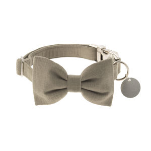 Olive Green Bow Tie Dog Collar - pet collars