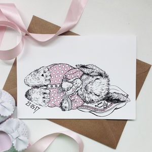 Personalised Girl Baby Bunny Greeting Card