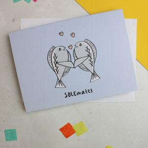 'Solemates' Funny Food Pun Anniversary Card For Couples