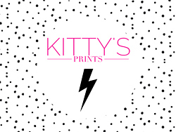 Polka dot lightening bolt kitty's prints