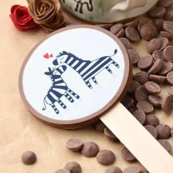 Milk Chocolate Valentine's Chocolate Lolly With Zebras