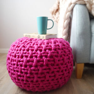 Chunky Knit Footstool In Pink Or Mustard