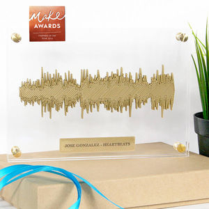 Golden 'Any Song' 3D Floating Sound Wave