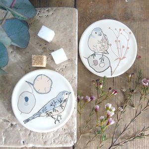 Honesty Seedheads And Chaffinch, Bone China Coasters