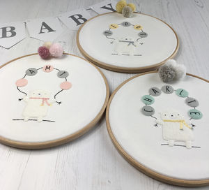 Embroidered Baby Bear Hoop, Available In Three Colours - mixed media & collage
