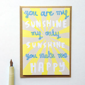'You Are My Sunshine' Valentines Card