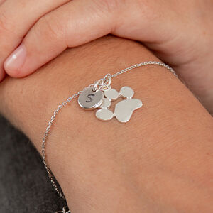 Paw Print And Initial Bracelet