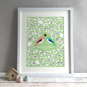 Personalised Love Birds Wedding Guest Book Print - albums & guest books