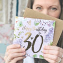 30th Birthday Botanical And Gold Greeting Card