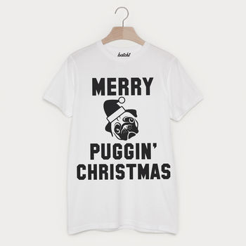 Merry Puggin' Christmas Men's Pug Slogan T Shirt