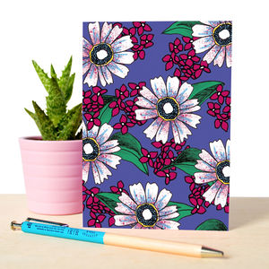 Notebook With Dark Florals Illustrated Pattern
