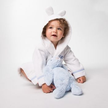 Personalised Cotton Towelling Bathrobe With Rabbit Ears