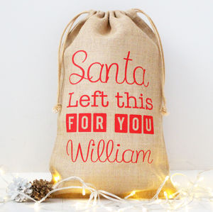 'Santa Left This For You' Hessian Christmas Gift Bag - view all decorations